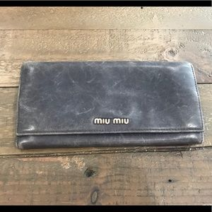 Miu Miu long wallet lambskin grey coin purse REAL